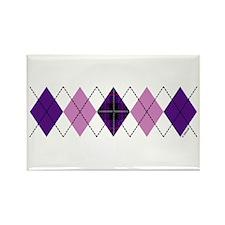 Purple Plaid Argyle Rectangle Magnet