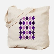 Purple Plaid Argyle Tote Bag