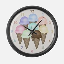 Ice Cream Cones Large Wall Clock