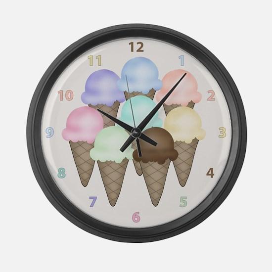 Ice Cream Cones Large Wall Clock