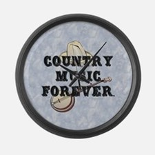Country Music Forever Large Wall Clock