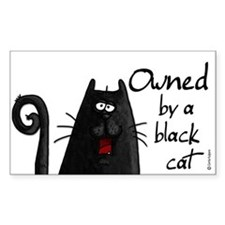 owned by a black cat Rectangle Stickers