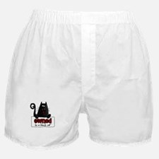 owned by a black cat Boxer Shorts
