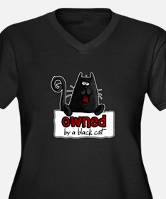 owned by a black cat Women's Plus Size V-Neck Dark