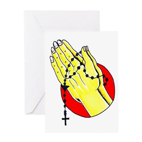 Praying Hands Tattoo Art Greeting Card