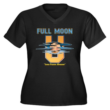 Full Moon U Women's Plus Size V-Neck Dark T-Shirt
