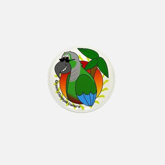 Cartoon Green Cheek Conure Mini Button