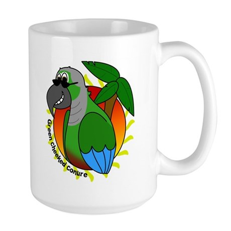 Cartoon Green Cheek Conure Large Mug