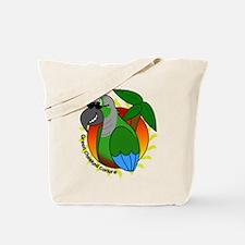 Cartoon Green Cheek Conure Tote Bag