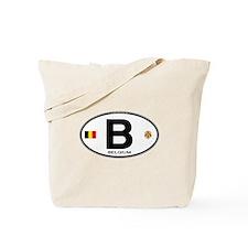 Belgium Euro Oval Tote Bag