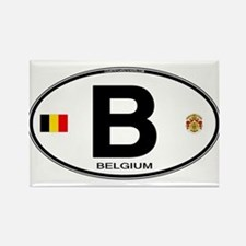 Belgium Euro Oval Rectangle Magnet