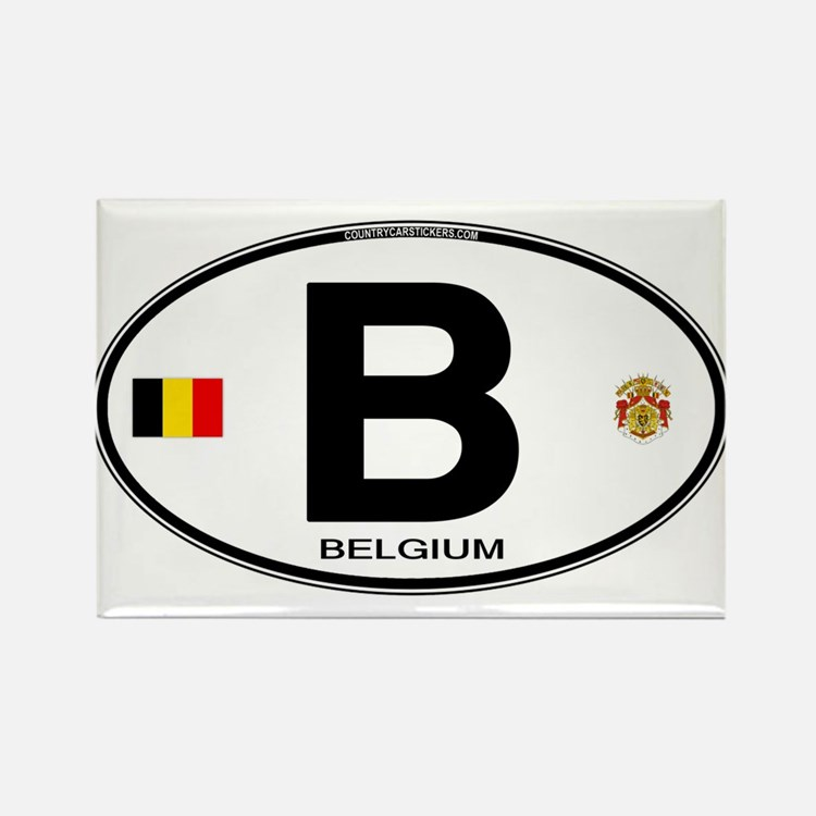 Belgium Euro Oval Rectangle Magnet