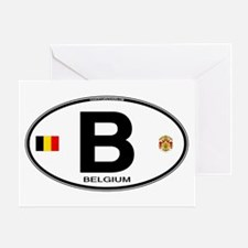 Belgium Euro Oval Greeting Card