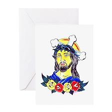 Jesus Tattoo Art Greeting Card
