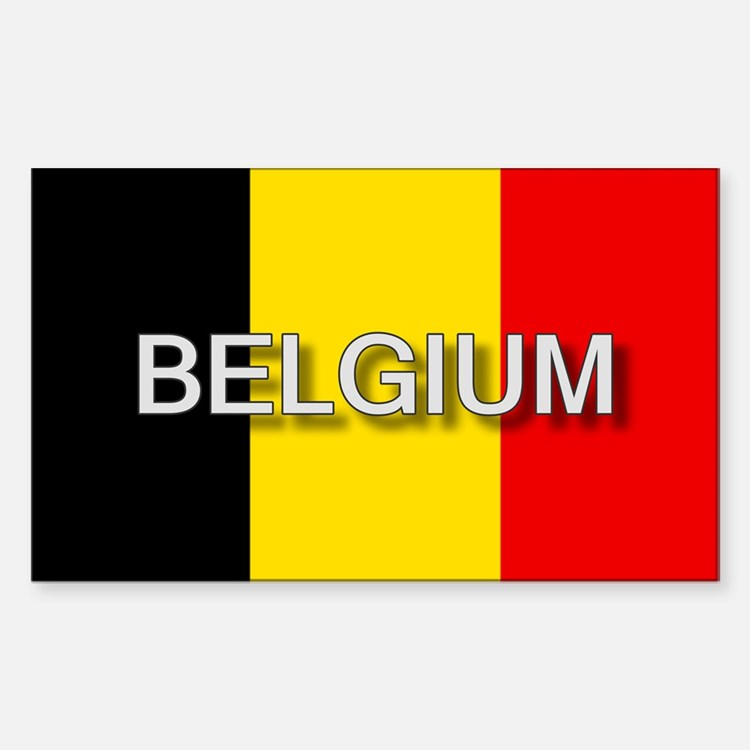 Belgium Flag with Label Rectangle Decal