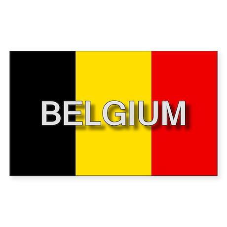 Belgium Flag with Label Rectangle Sticker