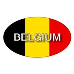 Belgium Flag with Label Oval Sticker (50 pk)