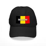 Belgium Flag with Label Black Cap