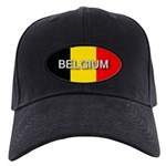 Belgium Flag with Label Black Cap