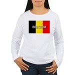 Belgium Flag with Label Women's Long Sleeve T-Shir
