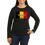 Belgium Flag with Label Women's Long Sleeve Dark T