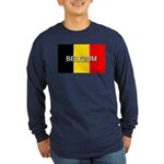 Belgium Flag with Label Long Sleeve Dark T-Shirt