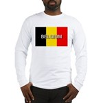 Belgium Flag with Label Long Sleeve T-Shirt