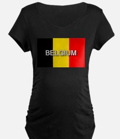 Belgium Flag with Label T-Shirt