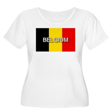 Belgium Flag with Label Women's Plus Size Scoop Ne