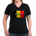 Belgium Flag with Label Women's V-Neck Dark T-Shir