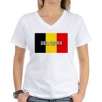 Belgium Flag with Label Women's V-Neck T-Shirt