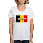 Belgium Flag with Label Women's V-Neck T-Shirt