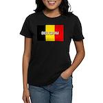 Belgium Flag with Label Women's Dark T-Shirt
