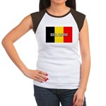 Belgium Flag with Label Women's Cap Sleeve T-Shirt