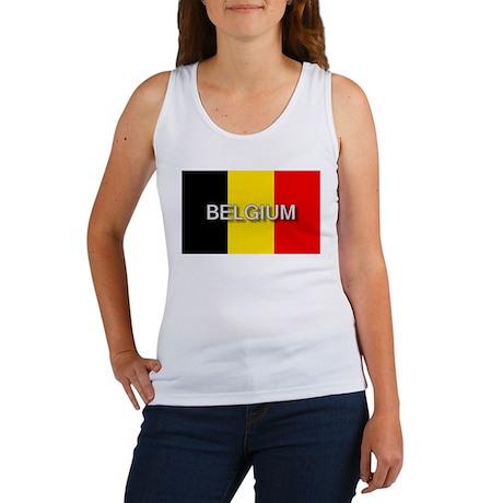 Belgium Flag with Label Women's Tank Top