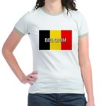 Belgium Flag with Label Jr. Ringer T-Shirt
