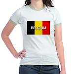 Belgium Flag with Label Jr. Ringer T-Shirt