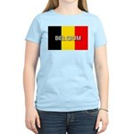 Belgium Flag with Label Women's Light T-Shirt