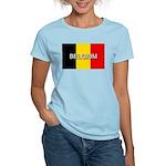 Belgium Flag with Label Women's Light T-Shirt