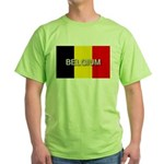 Belgium Flag with Label Green T-Shirt