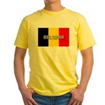 Belgium Flag with Label Yellow T-Shirt