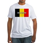 Belgium Flag with Label Fitted T-Shirt
