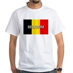 Belgium Flag with Label White T-Shirt