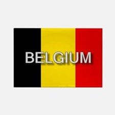 Belgium Flag with Label Rectangle Magnet