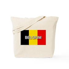 Belgium Flag with Label Tote Bag