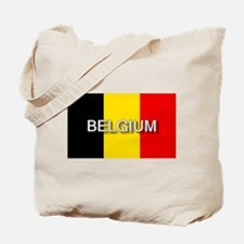 Belgium Flag with Label Tote Bag
