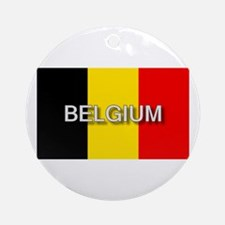Belgium Flag with Label Ornament (Round)