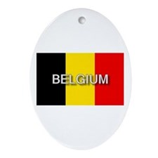 Belgium Flag with Label Oval Ornament