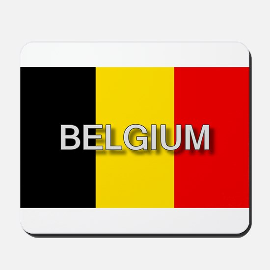 Belgium Flag with Label Mousepad
