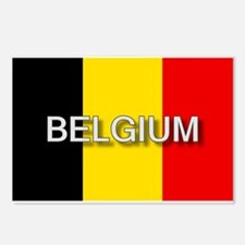 Belgium Flag with Label Postcards (Package of 8)